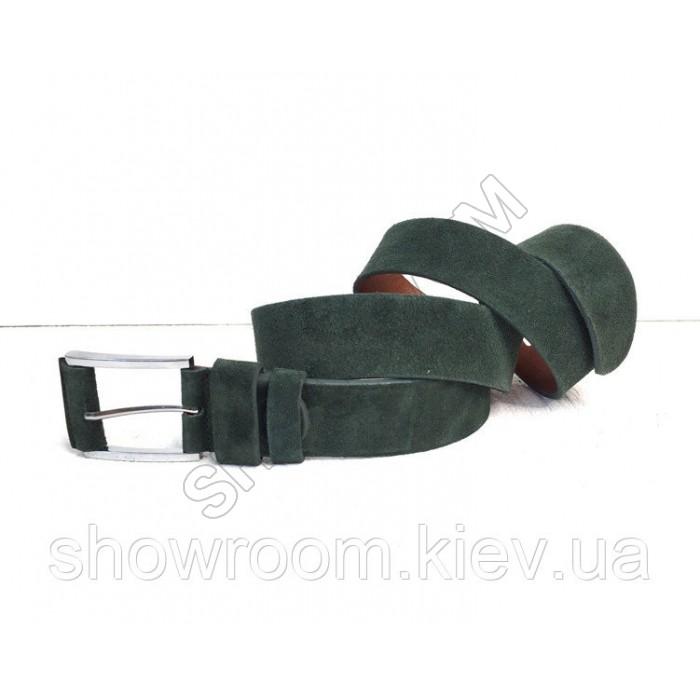 Кожаный замшевый зеленый ремень (40)