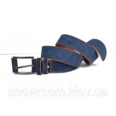 Кожаный замшевый голубой ремень (40)