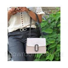 Женская итальянская сумка Laura Biaggi (329) кожаная пудровая