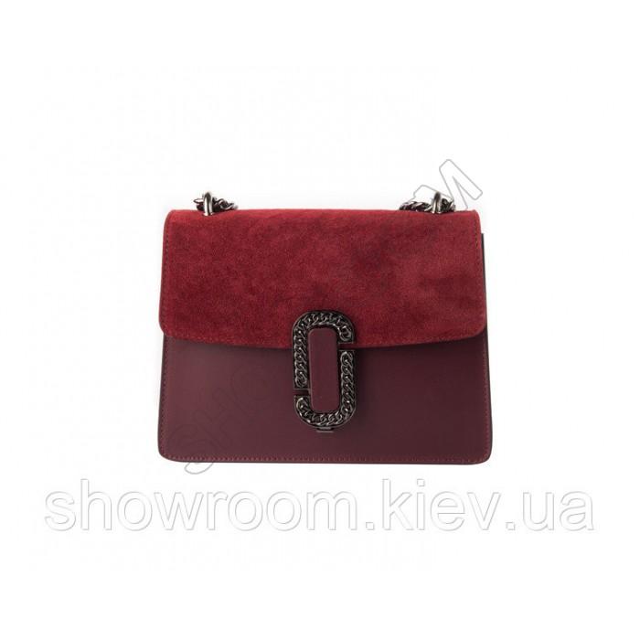 Женская итальянская сумка Laura Biaggi (329) кожаная цвета марсала
