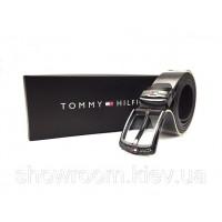 Мужской кожаный брендовый ремень (051) черный