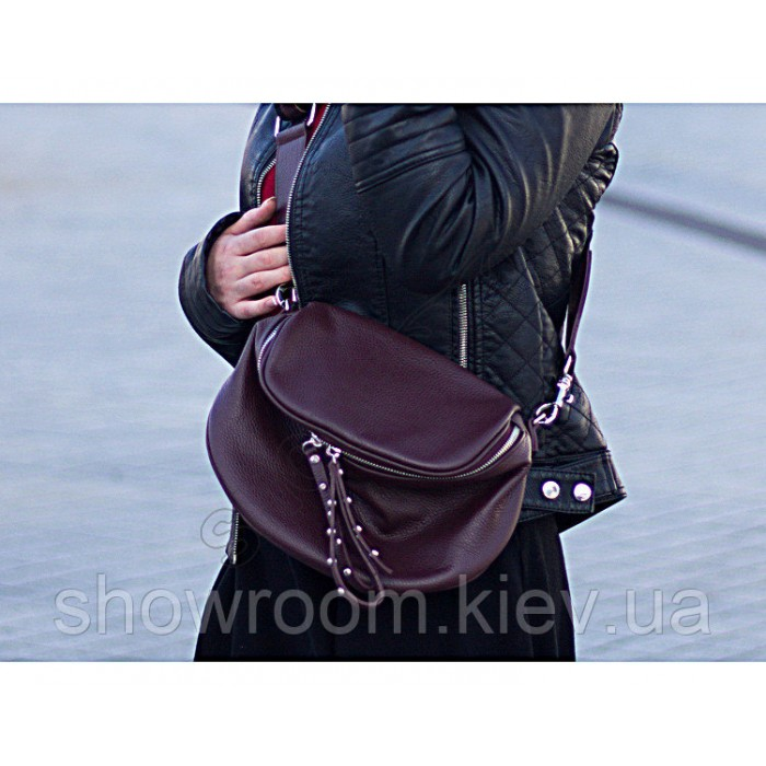 Сумка женская стильная Vera Pelle (2995) кожаная цвета марсала