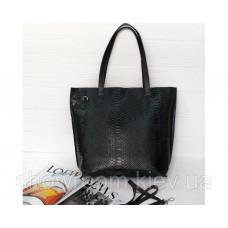 Женская кожаная сумка под рептилию Laura Biaggi (11-167) черная