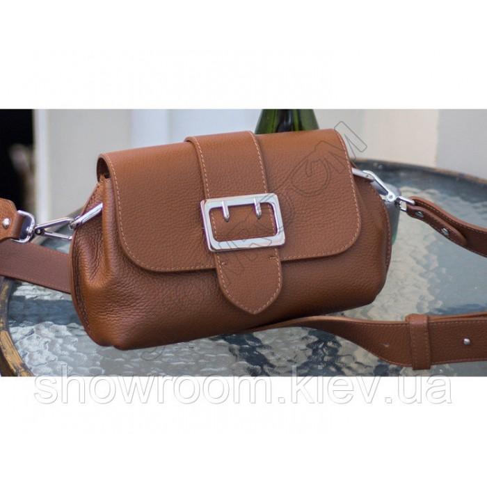 Удобная сумочка на плечо Vera Pelle (601) кожаная коричневая