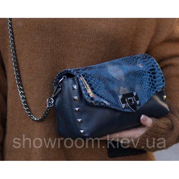 Женская сумка на плечо Laura Biaggi (6444) кожаная синяя