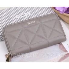 Женский кожаный кошелек на молнии Furla (962) серый