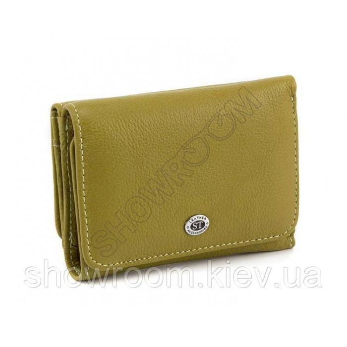 Женский кожаный кошелек (4031) оливковый