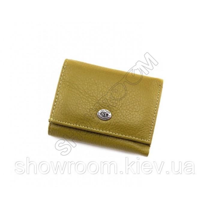 Недорогой женский кожаный кошелек (4401) оливковый