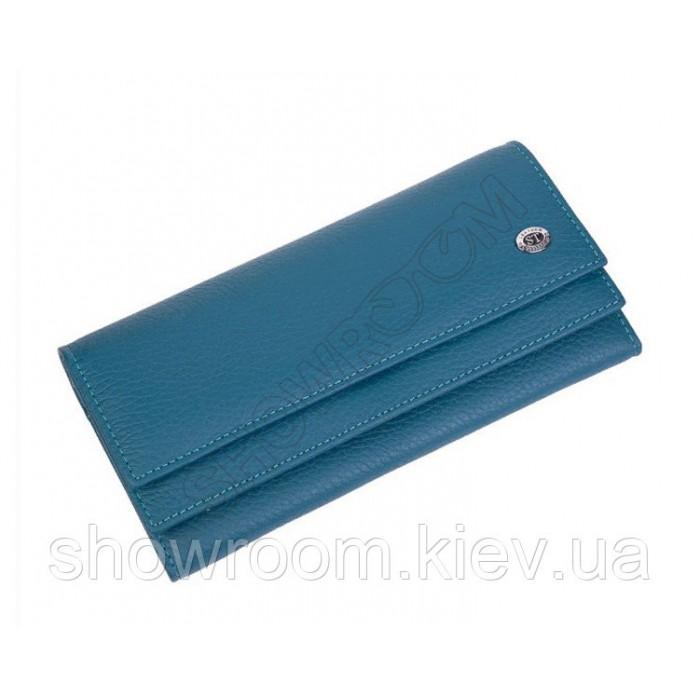 Женский кожаный удобный кошелек (1031) синий
