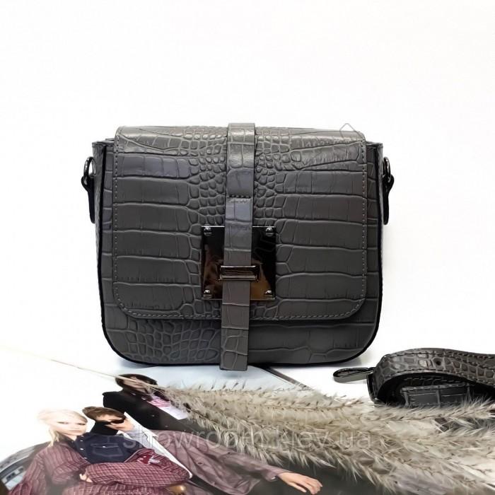Небольшая женская сумочка на плечо (254) кожаная серая