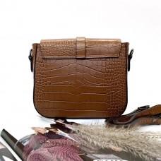 Небольшая женская сумочка на плечо (254) кожаная коричневая