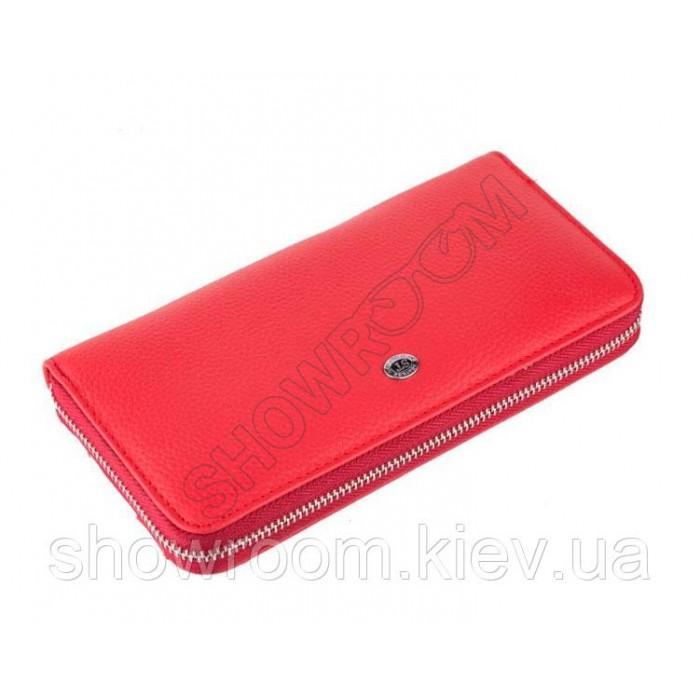 Женский кожаный красный кошелек на молнии (102)