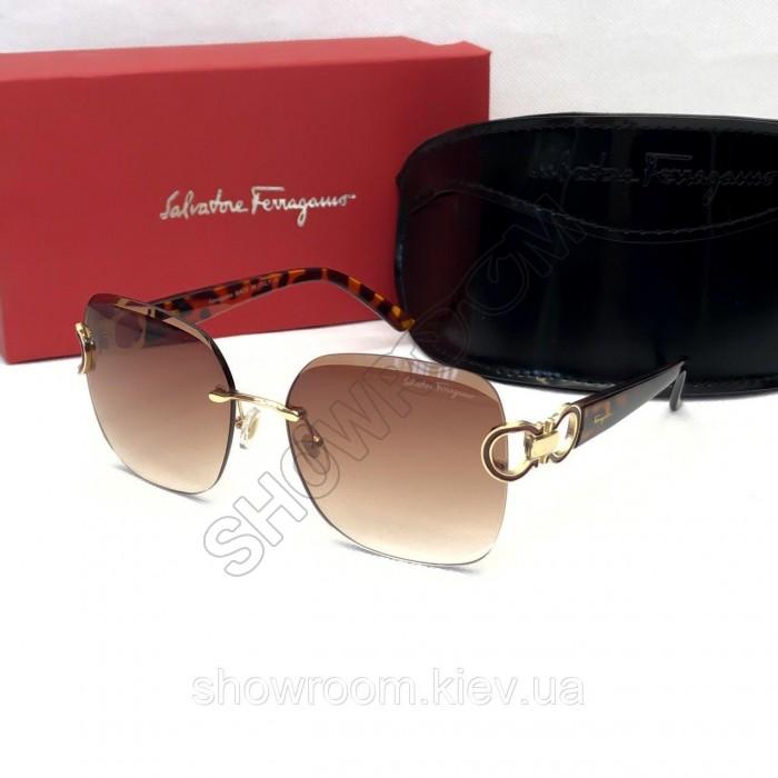 Женские солнцезащитные безоправные очки Salvatore Ferragamo (1802) brown