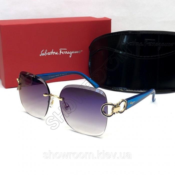 Женские солнцезащитные безоправные очки Salvatore Ferragamo (1802) blue