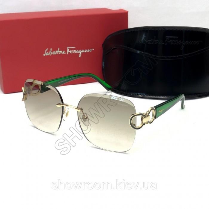 Женские солнцезащитные безоправные очки Salvatore Ferragamo (1802) green