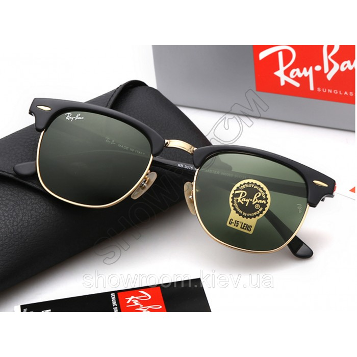 Мужские солнцезащитные очки RAY BAN 3016 clubmaster black LUX