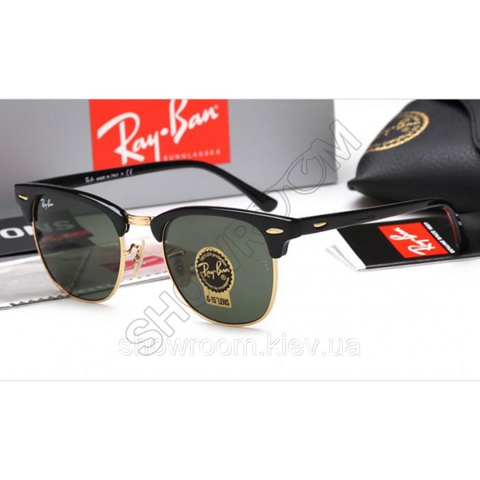 Женские солнцезащитные очки RAY BAN 3016 clubmaster black LUX