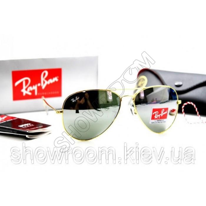 Женские солнцезащитные очки RAY BAN aviator (золотая оправа)