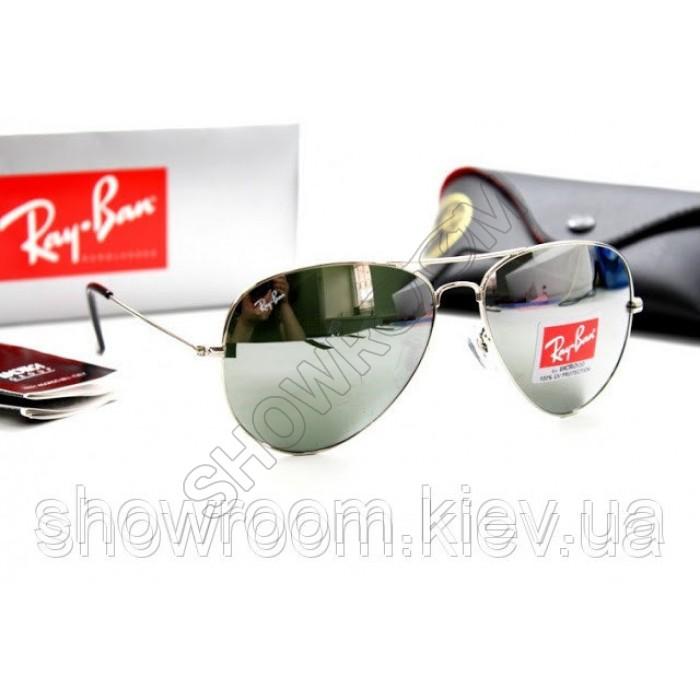 Женские солнцезащитные очки RAY BAN aviator (серебрянная  оправа)