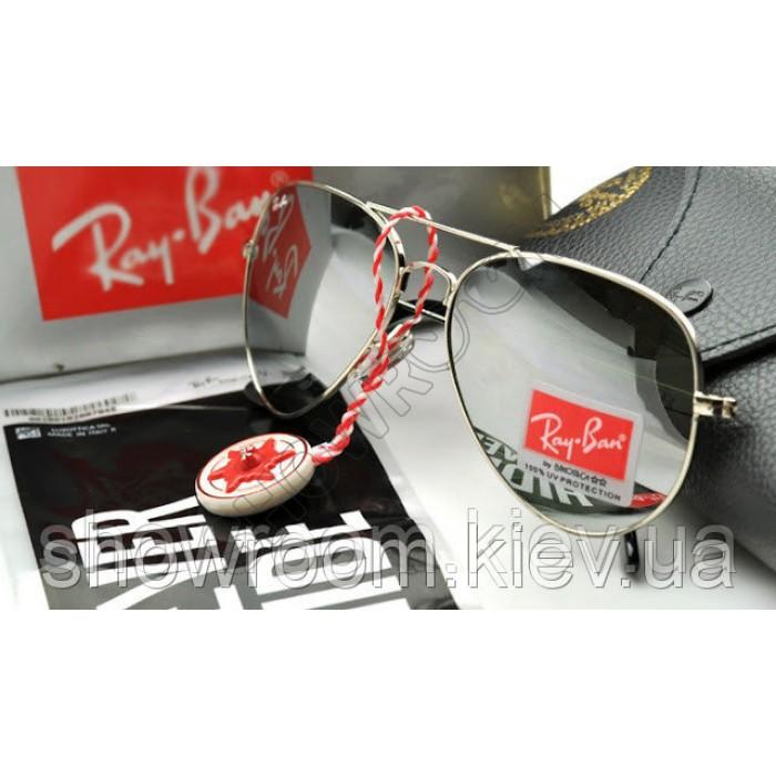 Мужские солнцезащитные очки RAY BAN aviator (серебрянная  оправа)