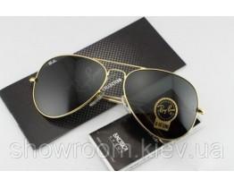 Мужские солнцезащитные очки RAY BAN aviator (золотая оправа)