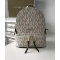 Женский кожаный брендовый рюкзак Michael Kors Rhea Zip B White Lux