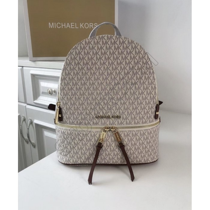 Женский кожаный брендовый рюкзак Michael Kors Rhea Zip M white Lux