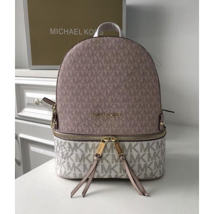 Женский кожаный брендовый рюкзак Michael Kors Rhea Zip Rose Lux