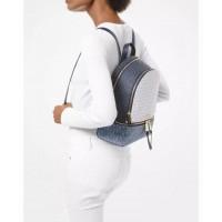 Женский кожаный брендовый рюкзак Michael Kors Rhea Zip Blue Lux
