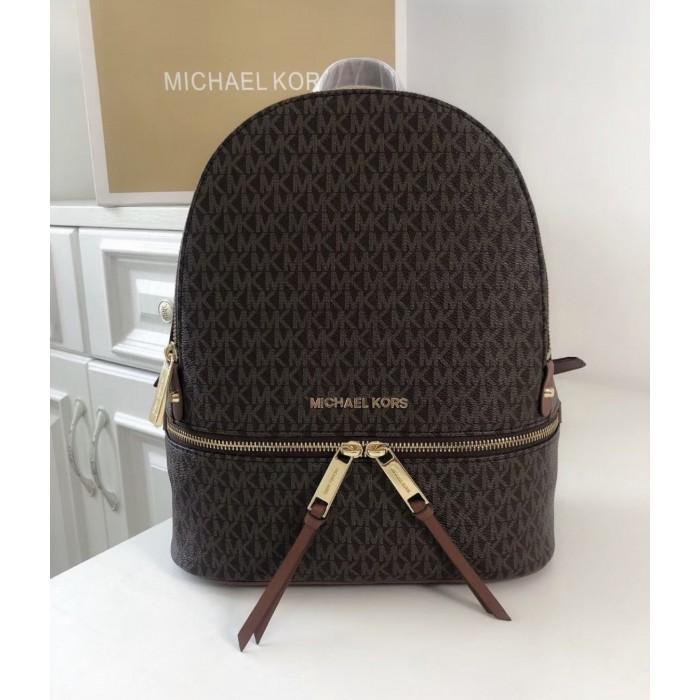 Женский кожаный брендовый рюкзак Michael Kors Rhea Zip M Lux